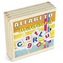 Alfabeto na Madeira MDF com 26 Peças 1077 - Carlu - Carlu