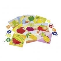 Alinhavos Frutas e Legumes em MDF com 10 Bases/10 Cadarços 1065 - Carlu - Carlu