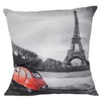 Almofada Impressão Digital Paris Carro Vermelho e Cinza 42x42 cm - Uniart - Carro Vermelho - Uniart