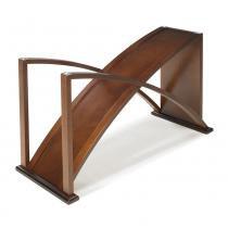Aparador Turin Design em Curva - Acabamento Fino em PU e Lâmina de Madeira - Lyptus - Castanho - Seiva