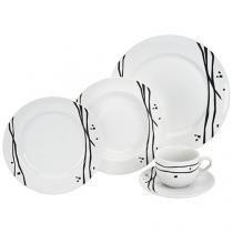 Aparelho de Jantar 20 Peças Etilux Porcelana - Redondo Branco e Preto Oriental APJA002