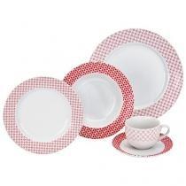 Aparelho de Jantar 20 Peças Etilux Porcelana - Redondo Branco e Vermelho Yuki APJA001
