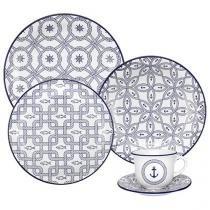Aparelho de Jantar 30 Peças Floreal Daily Cerâmica - Redondo Branco e Azul Náutico