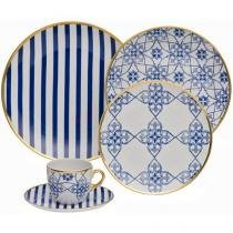 Aparelho de Jantar 30 Peças Oxford Porcelana - Redondo Branco e Azul Lusitana