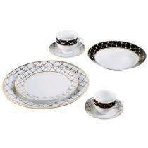 Aparelho de Jantar 42 Peças Casambiente Porcelana - Redondo Branco e Dourado Royal Castle