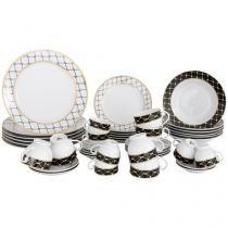 Aparelho de Jantar 42 Peças Casambiente Porcelana - Redondo Branco e Prata Royal Castle