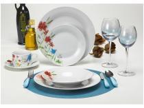 Aparelho de Jantar Chá 20 Peças Casambiente - Porcelana Redondo Branco e Floral APJA003