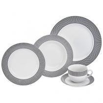 Aparelho de Jantar Chá 20 Peças Etilux - Porcelana Redondo Branco e Preto Geometric APJA004