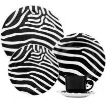 Aparelho de Jantar Chá 20 Peças Oxford - Cerâmica Redondo Floreal Zebra
