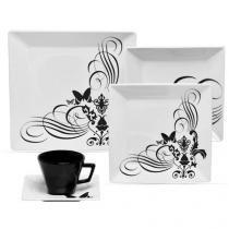 Aparelho de Jantar Chá 20 Peças Oxford - Porcelana Quadrado Branco e Preto Tatoo