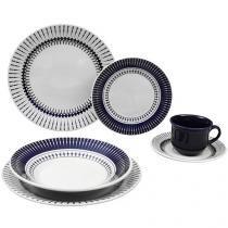 Aparelho de Jantar Chá 30 Peças Biona Cerâmica - Redondo Branco e Azul Actual Colb