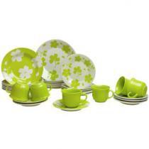 Aparelho de Jantar Chá 30 Peças Biona Cerâmica - Redondo Verde e Branco Jasmim Primavera