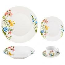 Aparelho de Jantar Chá 30 Peças Casambiente - Porcelana Redondo Colorido Modern APJA-003-30
