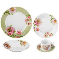 Aparelho de Jantar Chá 30 Peças Casambiente - Porcelana Redondo Gardênia APJA026ML