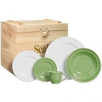 Aparelho de Jantar Chá 30 Peças Cerâmica Scalla - Redondo Verde 8081