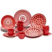 Aparelho de Jantar Chá 30 Peças Oxford - Cerâmica Redondo Vermelho e Branco Floreal Renda