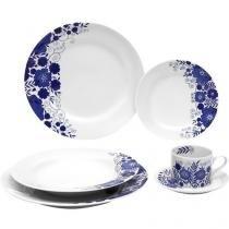 Aparelho de Jantar Chá 30 Peças Schmidt - Porcelana Redondo Branco Prática Glória
