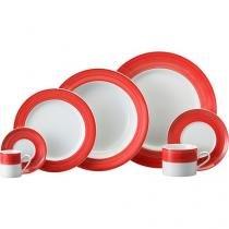 Aparelho de Jantar Chá 30 Peças Schmidt - Porcelana Redondo Vermelho e Branco Prática PM