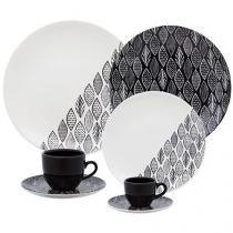 Aparelho de Jantar Chá 42 Peças Oxford - Porcelana Redondo Preto e Branco Coup Castanhal