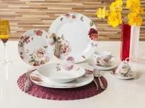 Aparelho de Jantar Chá Café 42 Peças Casambiente - Porcelana Redondo Colorido Marsala