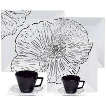 Aparelho de Jantar Chá Café 42 Peças Oxford - Porcelana Quadrado Branco e Preto Copacabana