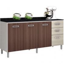 Balcão de Cozinha para Cuba Poliman Móveis - 3 Portas 3 Gavetas - Branco, amêndoa e Rovere