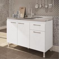 Balcão de Cozinha para Pia - 3 Portas 1 Gaveta - Pintura UV Alto Brilho Branco - Gralar