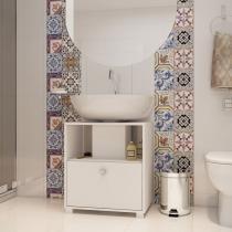 Balcão para Banheiro 1 Porta Basculante Estrutura em 15mm com acabamento em BP Fosco Branco - BRV