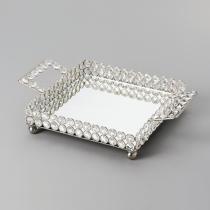 Bandeja Quadrada de Cristal com Espelho - Grande - Wolff