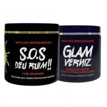 Beleza Pro Kit Máscara Restauradora SOS Deu Ruim + Glam Banho de Verniz - 2x500g + Brinde Luisance - Beleza Pro