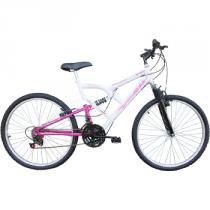Bicicleta Aro 26 Full Fa 240 Suspension 18 Marchas Branco/Rosa - Mormaii - Mormaii