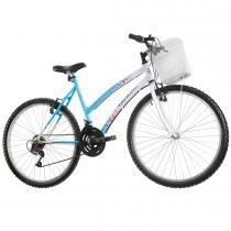 Bicicleta Feminina Marbela com Cesta Aro 26 Azul/Branco - Track Bikes - Track Bikes