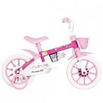Bicicleta Infantil Penélope Aro 12 Branco/Rosa - Mormaii - Mormaii