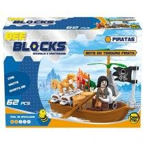 Blocos de Montar 62 Peças Bee Blocks - Bote do Tesouro Pirata 1974 Bee Me Toys