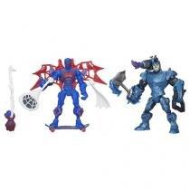 Boneco Spider-Man vs Rhino Marvel Super Hero - Mashers 25,5 Altura com Acessórios Hasbro