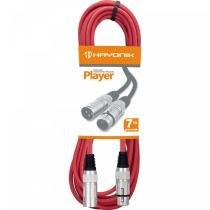 Cabo para Microfone 7 Metros Player Vermelho - Hayonik - Hayonik