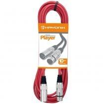 Cabo para Microfone XLR(F) x XLR(M) 10m Player Vermelho - Hayonik - Hayonik