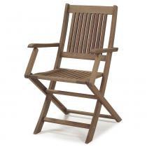 Cadeira Dobrável com Braços para Áreas Externas em Madeira Eucalipto - Maior Durabilidade - Castanho - CasaTema