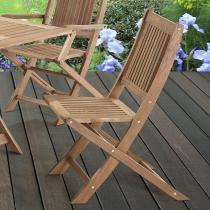 Cadeira Dobrável sem Braços para Áreas Externas em Madeira Eucalipto - Maior Durabilidade - Canela - CasaTema