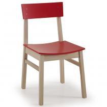 Cadeira DUO Madeira maciça com Assento e Encosto Anatômico - Pintura em Laca Vermelho - CasaTema