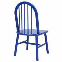 Cadeira Hannover em Madeira Maciça e Acabamento em PU Azul - Seiva