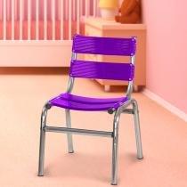 Cadeira Infantil em Alumínio Polido - Roxa - Sâmia