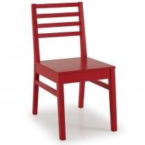 Cadeira ONE Madeira Maciça - Pintura em Laca Vermelho - CasaTema