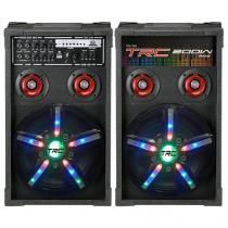 Caixa de Som Dupla Bluetooth TRC 360 200W - USB Microfone Entrada SD Iluminação LED