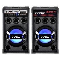 Caixa de Som Dupla Bluetooth TRC 368 300W - USB Microfone Entrada SD Iluminação LED