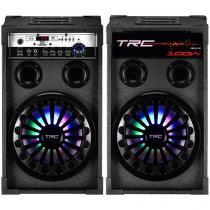 Caixa de Som Dupla TRC 338 100W - USB Microfone Entrada SD Iluminação LED