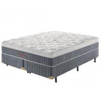 Cama Box Queen Molas Ultracoil até 150kg - Fresh Touch D50 Germany - Malha Bordada 450g - 158x198x57 - Palemax