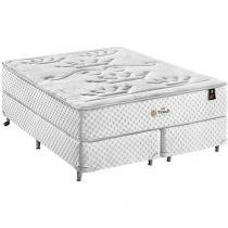 Cama Box Queen Size + (Box + Colchão) King Koil - Mola Pocket 77cm de Altura Touch