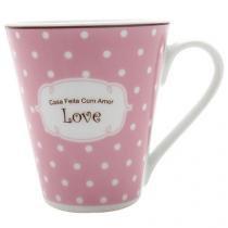 Caneca Porcelana 300ml Casambiente - Love Casa Feita com Amor