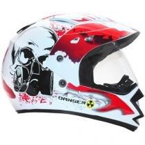 Capacete com Viseira Tamanho 62 - Mixs MX Frontier Danger White Decal Red